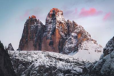 Royalty-Free and Rights-Managed Images - brown rocky mountain covered by snow during daytime - Tre Cime di Lavaredo, Italien by Julien