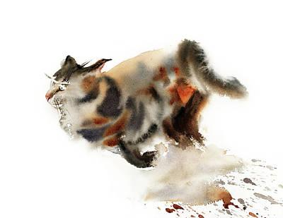 School Teaching - Brown running cat by Sophia Rodionov