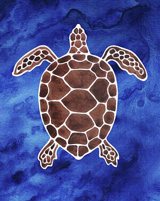 Royalty-Free and Rights-Managed Images - Brown Turtle Deep Blue Sea Watercolor  by Irina Sztukowski