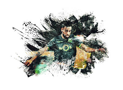 Sports Royalty-Free and Rights-Managed Images - Bruno Fernandes Soccer Player by All Sport Art
