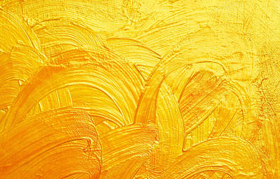 Royalty-Free and Rights-Managed Images - Brush Strokes And Curves Gold Abstract Background by Julien