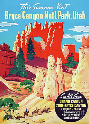 Animals Drawings - Bryce Canyon National Park Travel Poster 1932 by Bryce Canyon