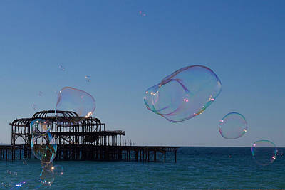 Coy Fish Michael Creese Paintings - Bubbles, West Pier, Brighton, England. by Joe Vella