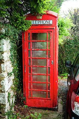 Photograph - Buckland in the Moor Red Telephone Box Dartmoor by Helen Northcott