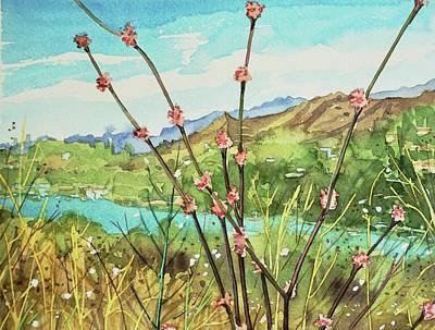 Target Threshold Watercolor - Buckwheat over Malibou Lake  by Luisa Millicent