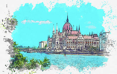Royalty-Free and Rights-Managed Images - Budapest - The Parliament, watercolor, by Ahmet Asar by Celestial Images