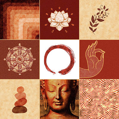 Royalty-Free and Rights-Managed Images - Buddha Grid 01 - Spiritual Collage by Studio Grafiikka