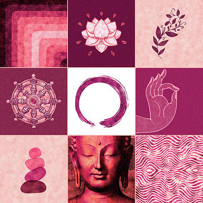 Royalty-Free and Rights-Managed Images - Buddha Grid 02 - Spiritual Collage by Studio Grafiikka