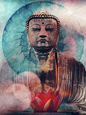 Surrealism Royalty Free Images - Buddha grunge texture Royalty-Free Image by Mihaela Pater