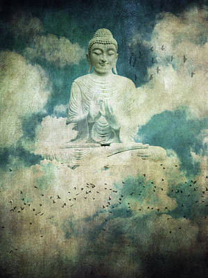 Surrealism Royalty Free Images - Buddha in the sky Royalty-Free Image by Mihaela Pater