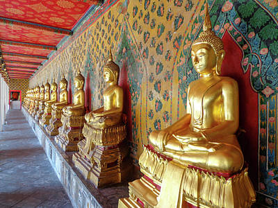 Vintage College Subway Signs Color - Buddha Statues in Thai Temple by Nate Hovee