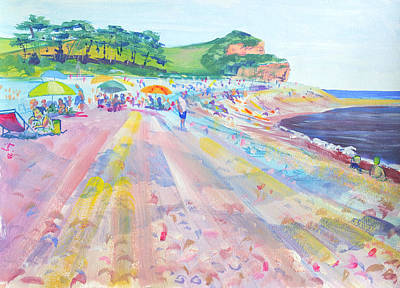 From The Kitchen - Budleigh Salterton beach on a busy day plein air painting by Mike Jory