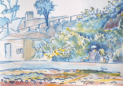 On Trend Breakfast - Budleigh Salterton painting sitting on the seafront by Mike Jory