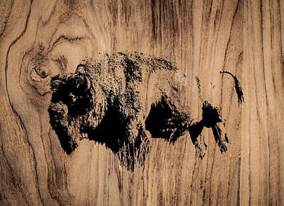 Rose - Buffalo Bison Wood Rustic Print by Aaron Geraud