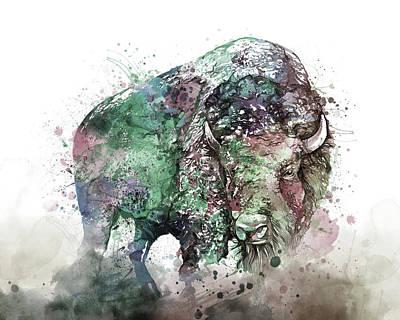 Animal Portraits - Buffalo Watercolor by Bekim M