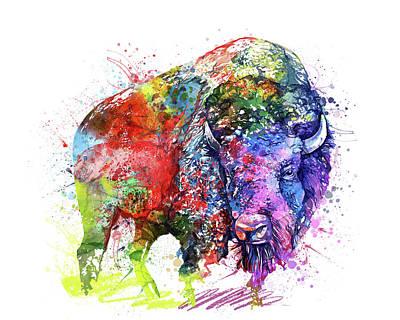 Animal Portraits - Buffalo Watercolor Colorful by Bekim M