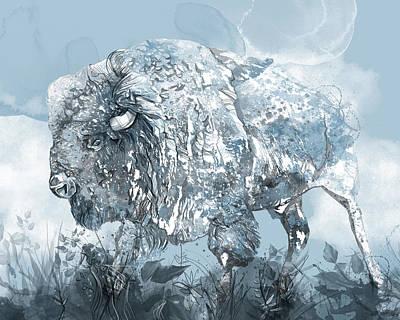 Animal Portraits - Buffalo Watercolor Monochrome by Bekim M