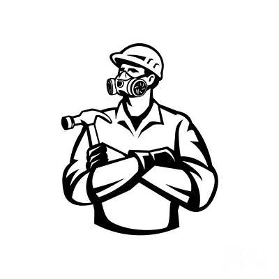 1920s Flapper Girl - Builder Carpenter Wearing Mask Respirator Gas Vapor Cartridges Arms Crossed Holding Hammer Retro Retro Style by Aloysius Patrimonio