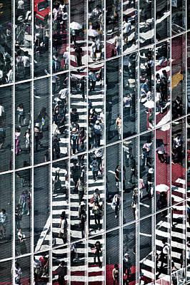 Owls - Building Reflection, Shibuya, Tokyo, Japan by Glen Allison