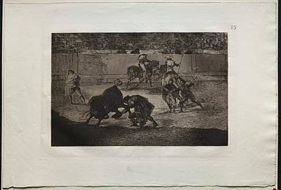 The Beach House - Bullfights Pepe Illo Making the Pass of the Recorte 1816, printed 1876 Francisco de Goya by MotionAge Designs