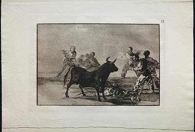 The Beach House - Bullfights The Rabble Hamstringing the Bull with Lances, Sickles, Banderillas and Other Arms 1816 by MotionAge Designs