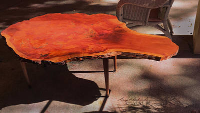 Clouds - Burl Wood Table 2 by Gary F Richards