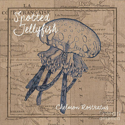 Comic Character Paintings - Burlap Jellyfish by Debbie DeWitt