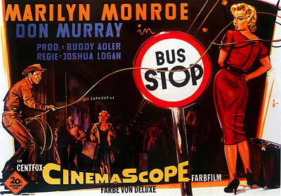 Mixed Media Royalty Free Images - Bus Stop, with Marilyn Monroe and Don Murray, 1956 Royalty-Free Image by Stars on Art
