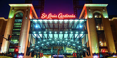 Lucille Ball Royalty Free Images - Busch Stadium and St Louis Cardinals Baseball Panorama Royalty-Free Image by Gregory Ballos