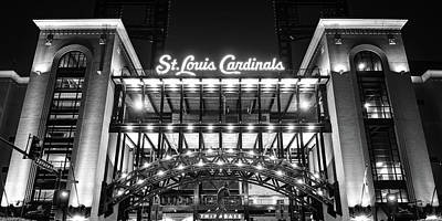 Everett Collection - Busch Stadium and St Louis Cardinals Baseball Panorama in Black and White by Gregory Ballos