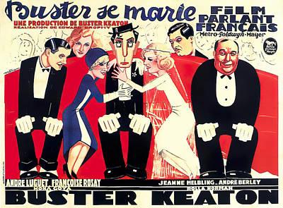 Mixed Media Royalty Free Images - Buster se Marie, with Buster Keaton, 1931 Royalty-Free Image by Stars on Art