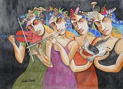 Music Paintings - Butterflies In Your Head by Guri Stark