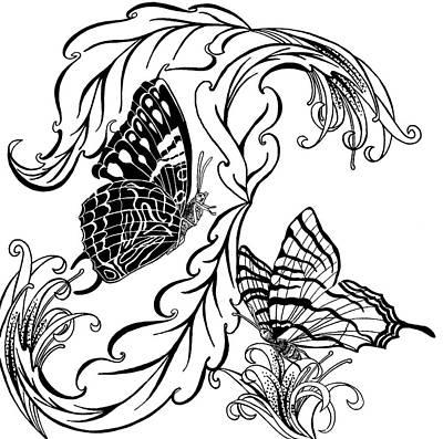 Animals Drawings - Butterflies by Jennifer Wheatley Wolf