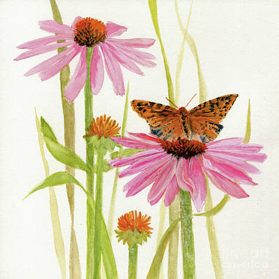 Painting - Butterfly and Coneflowers by Laurie Rohner