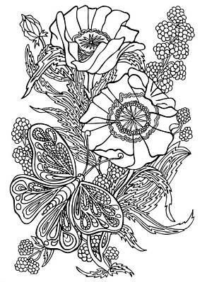 Animals Drawings - Butterfly and Raspberries by Jennifer Wheatley Wolf
