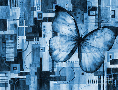 Popstar And Musician Paintings Royalty Free Images - Butterfly Effect in blue Royalty-Free Image by Hailey E Herrera
