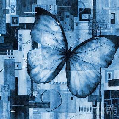Wild Horse Paintings - Butterfly Effect-Square Format in blue by Hailey E Herrera