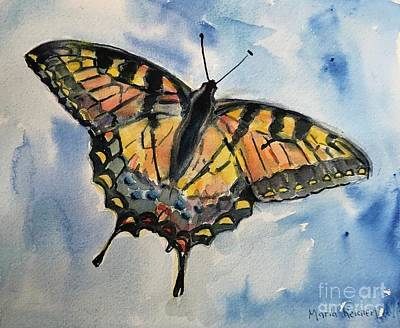 Painting - Butterfly in watercolor by Maria Reichert