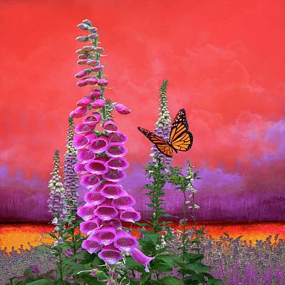 Reptiles - Butterfly With Foxglove by Jeff Burgess