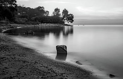 Landscapes Royalty-Free and Rights-Managed Images - Bw Lake Michigan by Steve Bell