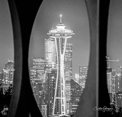 Comic Character Paintings - BW Space Needle by Curtis Gregory