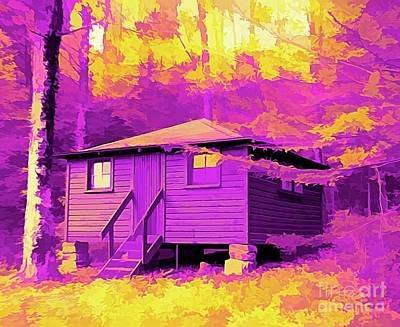 Vintage Pharmacy - Cabin at Allegany State Park NY Abstract Amertrine Effect by Rose Santuci-Sofranko