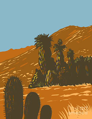 Bicycle Patents - Cactus and Desert Fan Palm Growing in Santa Rosa and San Jacinto Mountains National Monument in Palm Desert California  United States WPA Poster Art by Aloysius Patrimonio