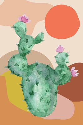 Lady Bug - Cactus Desert Geometric Abstract Sunset Flowers by Aaron Geraud