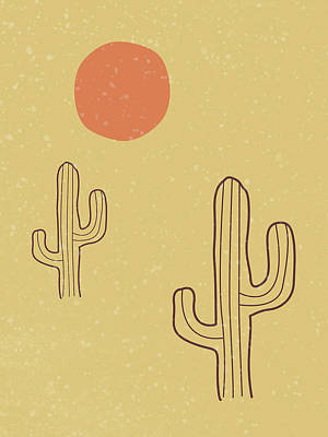 Royalty-Free and Rights-Managed Images - Cactus - Desert Landscape - Modern, Minimal, Contemporary Abstract - Terracotta, Brown, Earth by Studio Grafiikka