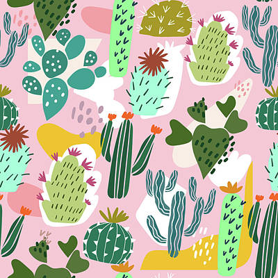 Royalty-Free and Rights-Managed Images - Cactus seamless pattern hand drawn illustration. Cacti background isolated on pink by Julien