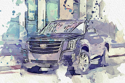 1-war Is Hell Royalty Free Images - Cadillac Escalade -  Modern Cars Poster, watercolors ca 2020 by Ahmet Asar Royalty-Free Image by Celestial Images