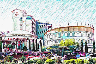 Antique Maps - Caesars Palace, Las Vegas by Tatiana Travelways