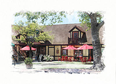 Winter Animals Rights Managed Images - Cafe Scene in Solvang California Digital Watercolor Royalty-Free Image by Colleen Cornelius