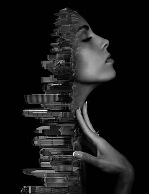 Surrealism Digital Art - Calgary Alberta Canada Skyline and Woman Double Exposure Photography Surreal by Barroa Artworks